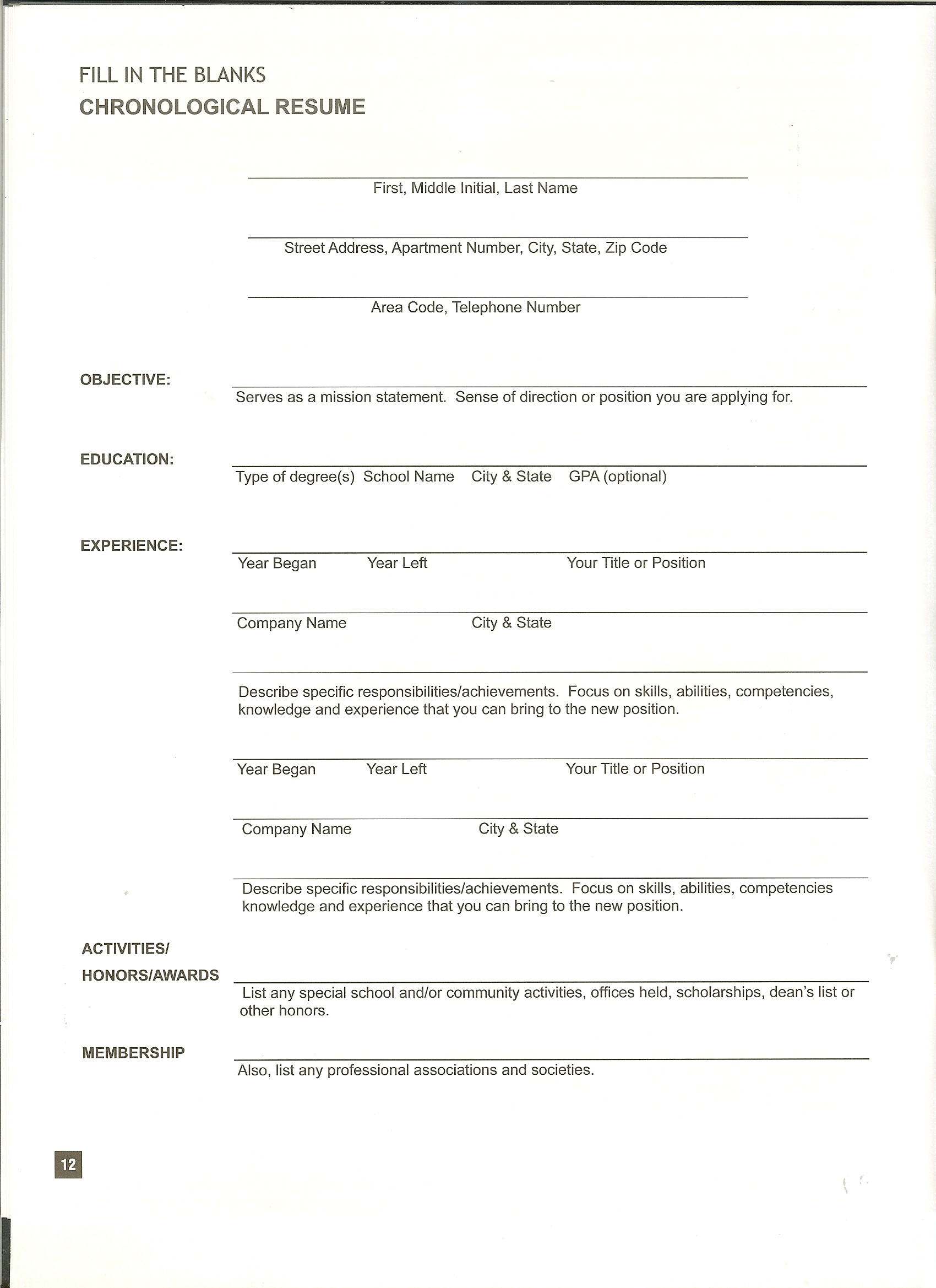 resume form exons tk category curriculum vitae